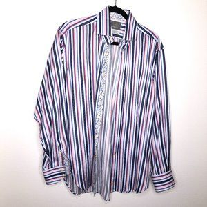 Thomas Dean Stripe Button Down with Floral Accents